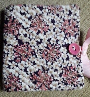Quilted Handmade Needle Book Pink white floral RHS Fabric wooden pink button