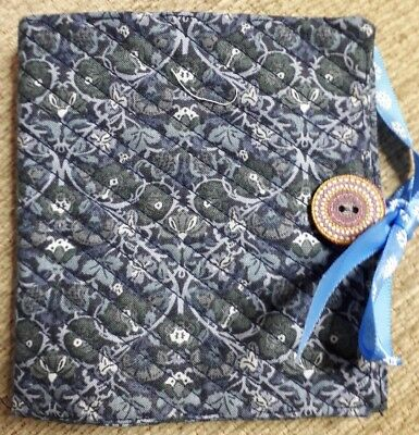 Quilted Handmade Needle Book Blue William Morris Fabric wooden button