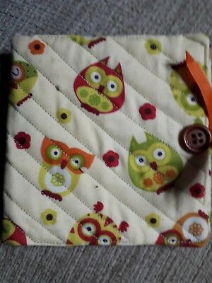 Quilted Handmade Needle Book yellow owl retro fabric wooden button