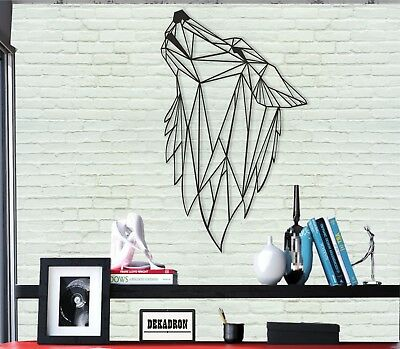 Geometric Wolf Head Wall Art Metal Wall Decor Home Office Living Room Decoration