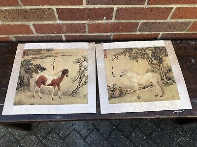 Chinese Horse Ink Pictures On Silk Calligraphy Seal Marks Paper Painting Rare