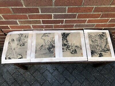 Chinese Ink Paintings 4 Immortals Gods Signed Calligraphy Seal Character Marks