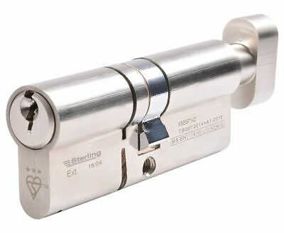 Sterling British Standard 3* Euro Cylinder Satin Nickel 36x36mm  Cylinder Locks