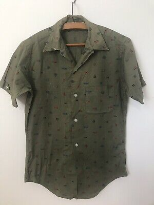 Vintage 1950's Men's Cabana Shirt Mid Century Sail Boats Novelty Print Small