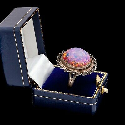 Antique Vintage Art Deco Sterling Silver Mexican Dragons Breath Opal Ring Sz 6