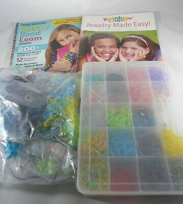 Large Rainbow Loom Lot of Loom With Bands Tool Hook Case 2 Pattern Books C Hooks