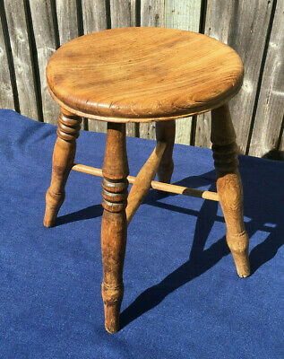 Antique Stool with Turned Legs and Stretchers, 19th Century