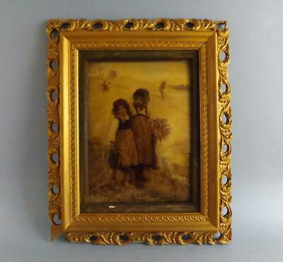 Antique Victorian Crystolean Picture of a Young Children in Ornate Guilded Frame