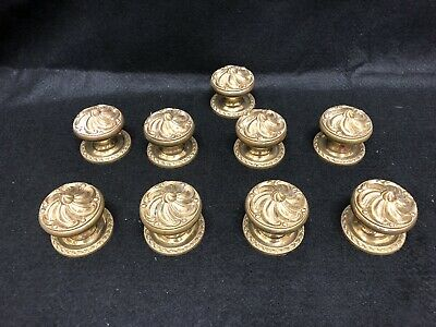Vintage Antique Made In Spain Ornate Brass Doorknobs (9 Sets) With Back Plates