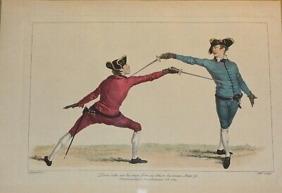 Two 1763 Original French Antique Gwyn Delin Copperplate Engravings Men Fencing