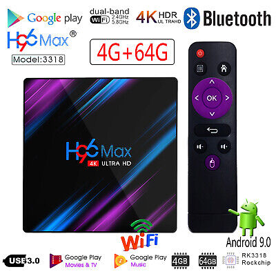 H96 Max Smart TV Box Android 9.0 WiFi RK3318 4-Core 4K 3D AV Media Player 4G+64G