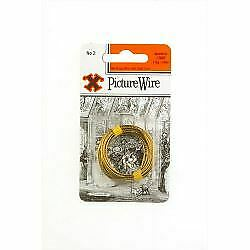X Brass Picture Wire (Blister Pack) No. 2 Hardware  Ironmongery 12836