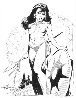 SAUCY SAVAGE GIRL!!  Retro Fantasy Ink Art by Mike Hoffman!