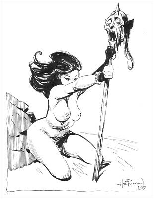 DESERT GIRL AND TROPHY!!  Retro ERB Fantasy Ink Art by Mike Hoffman!