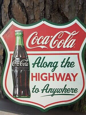 New old 50's 60's style Coca Cola & Coke bottle highway road advertising sign