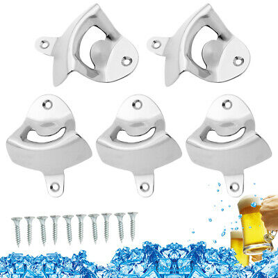 Lot of 5 Durable Stainless Steel Silver Wall Mount Beer Soda Cap Bottle Opener