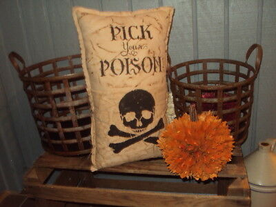 """Primitive Shabby Farmhouse Stenciled Halloween Rustic Pillow-""""pick Your Poison""""-"""