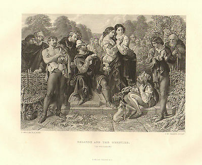 1876 Shakespeare Druck ~ As You Like It ~ Orlando And The Wrestler