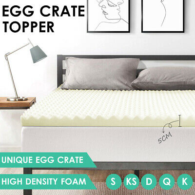 Egg Crate Mattress Foam Topper Underlay All Size Deluxe Protector 5CM