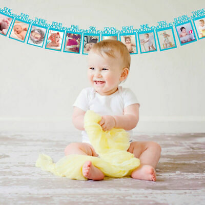 1st Birthday Recording 1-12 Month Photo Banner Garlands Monthly Bunting Decor UK