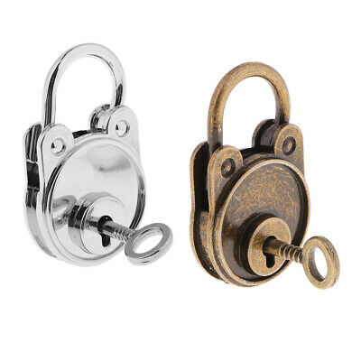 2xVintage Antique Style Mini Archaize Useful Padlocks Key Lock Bronze+Sliver