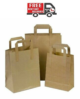 100 X Brown Paper Bags With Handles SOS Bags Paper Bags Food Carrier Bags