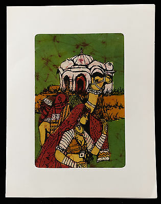 Card Batik Femme Du Rajasthan India Hanging Crafts Handmade 7482 MIL10