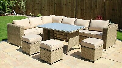 9 SEAT 1 dining TABLE Rattan Wicker Garden Furniture Conservatory Sofa SET Sand