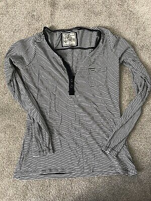 Fat Face Ladies Long Sleeve White With Navy Stripe Breton Top Size 10