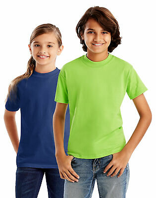 Hanes Kids T-Shirt Beefy Girls Boy Short Sleeve Jersey 100% Cotton Double Needle