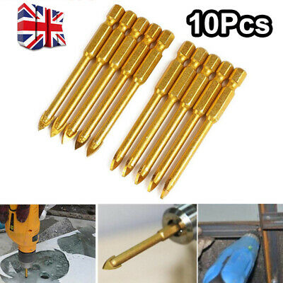 10PCS 6mm Tungsten Carbide Drill Bit Glass Tile Mirror Ceramic Spear Head