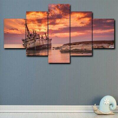 5Pcs Seaside Sunset Glow Scenic Art Modern Home Decor Canvas Oil Wall Painting
