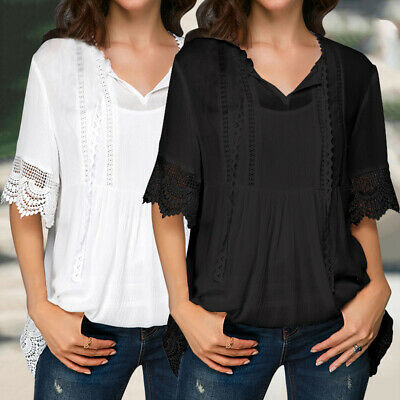 c16aa3ab Plus Size Women Casual Lace Hollow Tops Short Sleeve Tunic Blouse Ladies T- shirt