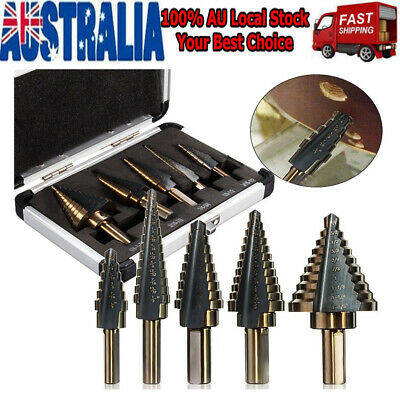 5Pcs HSS Aluminum Step Steel Step Cone Drill Titanium Hole Cutter Bit Set + Box