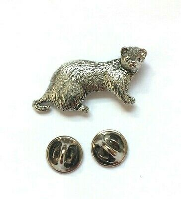 Ferret Badge Pin Brooch in UK Pewter & Gift Box Option - Ferret Gifts, Presents