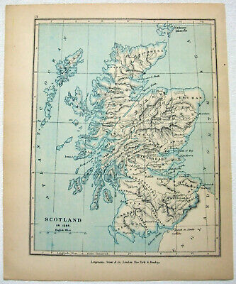 Vintage Map of Scotland in 1285 by Longmans Green 1905