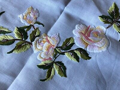 Striking Vintage Floral Hand Embroidered Med Square White Irish Linen Tablecloth