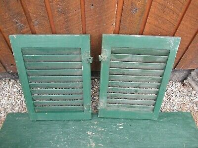 """VINTAGE OLD  2 SHUTTERS Wooden 19"""" long x 14"""" Wide Architectural Salvage #6"""