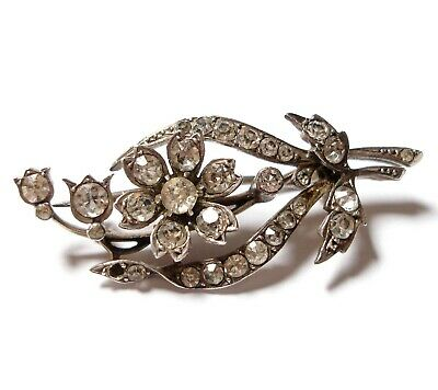 Beautiful Antique Victorian Or Edwardian Silver & Paste Stone Brooch Af