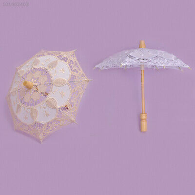 09A4 Handmade Embroidery Cotton Lace Parasols Wedding Umbrella Children Size