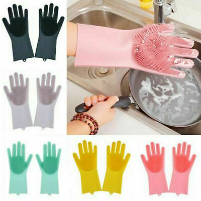 1 Pair Cleaning Scrubbing Rubber Magic Silicone Stain Dish Washing Gloves 2 in1
