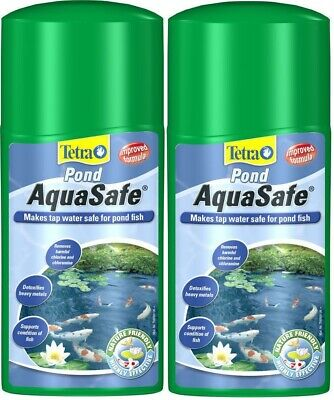 Tetra AquaSafe POND (2 x 250ml) Tap Water Conditioner Neutraliser Dechlorinator