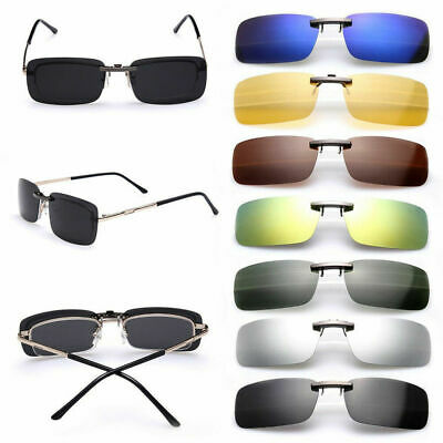 Polarized Sunglasses UV400 Flip-up Clip On Driving Glasses Day Night Vision Lens