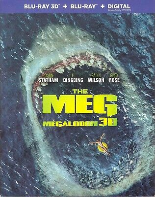 THE MEG 3D BLU-RAY & BLURAY & DIGITAL SET with Jason Statham & Li Bingbing