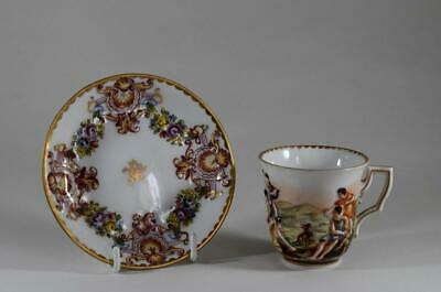 Antique Early 19Th Century Capodimonte Handpainted Teacup & Saucer