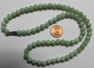 Certified Natural Jade Grade A Untreated Light Green Jadeite JADE Necklace #N255