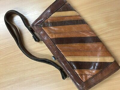 Vintage Brown/Tan/Dark Brown Leather Handbag