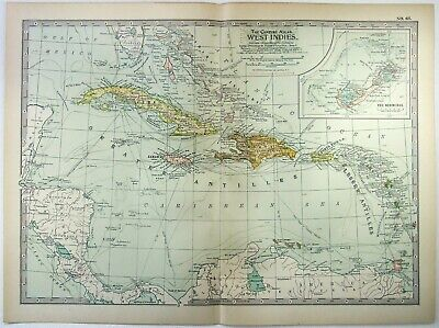 Original 1902 Map of West Indies by The Century Company. Antique