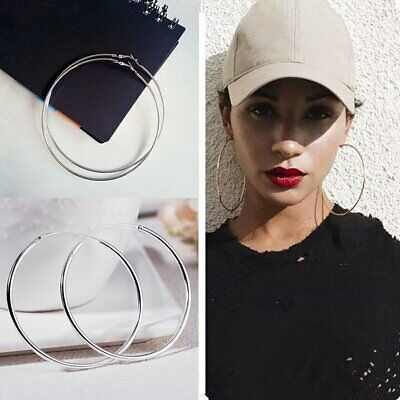 Women Girls 925Silver Smooth Big Round Hoop Earrings Fashion Jewelry Gift Party