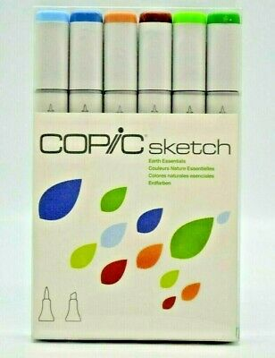 Copic 6pc Sketch Earth Essentials Dual-Tipped Alcohol Markers 6 Pen Colors
